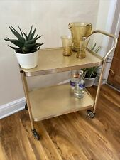 Vintage Retro Small Gold Effect Drink Cocktail Gin Bar Serving Trolley 2 Tier