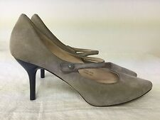"""Via Spiga taupe Suede Mary Janes 3"""" Heels Women slip on shoes size  6M"""