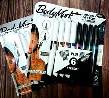 LOT OF 2 / New BIC BodyMark Temporary Tattoo Markers Art Set 8 Markers+Stencils