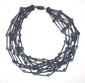 MARINA & SUSANNA SENT 10 Strand GLASS Blue Gray/Black MODERNIST NECKLACE Italy