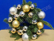 "Pottery Barn Outdoor Ornament Pine Wreath Gold Silver Christmas Holiday 12"" NEW"