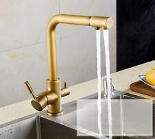Vintage 3 Way Dual Lever Brass Faucet Kitchen Mixer Tap Pure Water Filter Ksf124