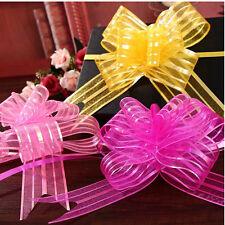 10x 50mm Organza Ribbon Pull Bows Wedding Car Decor Gift Wrap Colourful