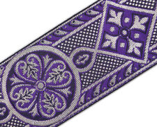 3 Yards Purple & Silver Jacquard Chasuble Medieval Church Vestment Trim 2 3/8""