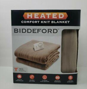Biddeford Comfort Knit Fleece Heated Electric Blanket, Twin, Beige. Brand New!!