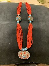 Silver Necklace With Medallion Vintage Coral & Turquoise