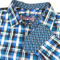 Robert Graham Men's Size 3XL Long Sleeve Button Shirt Blue Plaid Flip Cuff XXXL