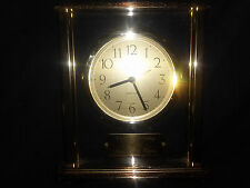 """BEAUTIFUL BRASS LINDEN MANTLE CLOCK WITH """" HAPPY BIRTHDAY MOM"""" PLAQUE 6 1/2 IN."""