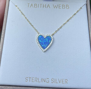 Tabitha Webb .925 Sterling Silver Blue Opal CZ~Gold Tone Necklace Pendant