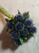 12pcs Wire Stemmed Round Blue Berries. Ice effect.