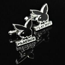 PLAYBOY CUFFLINKS Bunny Logo Black Silver Tone NEW w GIFT BAG Retro Father's Day