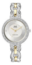 Q&Q by Citizen F525-401Y Crystal Accented Two-Tone Women's  Watch ~ GREAT GIFT