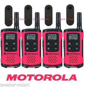 Motorola Talkabout T107 Walkie Talkie 4 Pack Set 16 Mile Two Way Radios Pink New