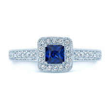 0.94ct 14k White Gold Princess Cut Blue Sapphire Diamond Vintage Engagement Ring