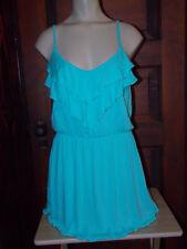 Victoria Secret~Flounce~Ruffle~Spaghetti Strap~Cover-Up~Beach~Dress~Medium~Aqua