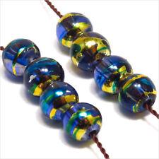 Lot de 50 perles en verre Décorées 6mm Bleu