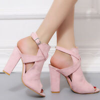 Womens Ladies High Block Heel Open Peep Toe Ankle Strap Sandals Party Shoes New