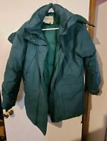 EDDIE BAUER QUILTED Goose Down Quilted Gortex Ridge Line Coat Small Petite Green