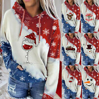 UK Womens Christmas Sweatshirt Jumper Santa Wine Glass Xmas Hoodie Pullover Tops