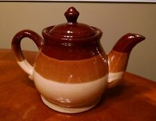 Vintage Stoneware Pottery Tea Kettle, Tan, Brown