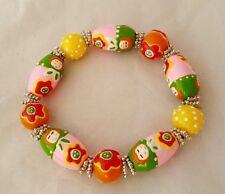 Gummi Armband m. Matroschka Glas Perlen Mädchen Junge Frau Große ca.17