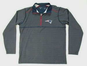 Mens Large Antigua New England Patriots 1/4 Zip Navy Pullover Shirt