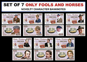 SET OF 7 - Only Fools and Horses Novelty Character Banknotes