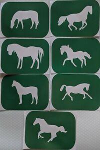 7 x Horses-1,  Body Art Glitter Tattoo And Glass Etching Stencils Glitter