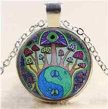Mushroom Peace Sign Cabochon Glass Tibet Silver Chain Pendant Necklace