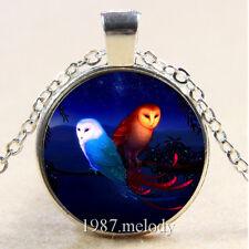 Photo Cabochon Glass Silver Chain Pendant Necklace fantasy Owls