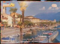 Vintage Chad Valley Harbour Boat Scene Lake Maggiore Italy Jigsaw puzzle. 300