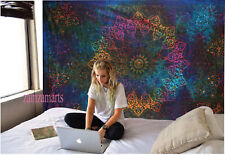 Indian Tie Dye Wall Hanging Tapestry Mandala Queen Size Bedspread Decor Hippie
