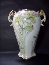 "Nippon 2-Handled Vase Hand Painted Floral with Gold Trim and Highlighs 12"" High"