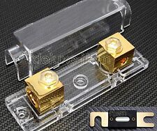 CAR STEREO AUDIO INLINE  ANL FUSE HOLDER 0 2 4 GAUGE W/ 100A - 300A Gold Plate