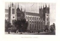 1840 Viktorianisch Aufdruck ~ Westminster Abbey ~ London