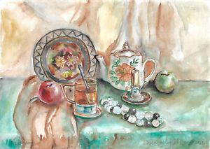 original painting A3 11VX art samovar watercolor modern still life Signed 2021