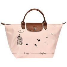 NWT Auth Longchamp Limited Le pliage Bird Cage aux Oiseaux Handbag Bag Rose Pale