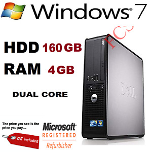 Dell Optiplex - Dual Core 4GB RAM 160GB HDD Windows 7 - Desktop PC Computer