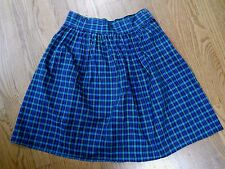 Vintage Women's Helium green & blue plaid gathered skirt size 11