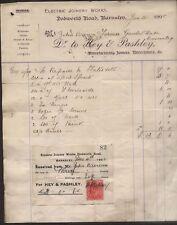 1908 BARNSLEY, HEY & PASHLEY, ELCTRIC & JOINERY WKs. BILLHEAD TO GAWBER HALL