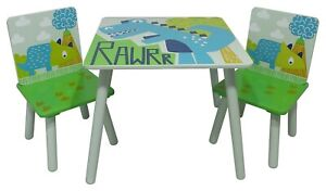 Kids Child Table and 2 Chair Set Dinosaur Themed Playroom Bedroom