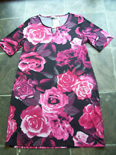 BNWT Women's Black & Red Floral Stretch Polyester Summer Dress Size 14