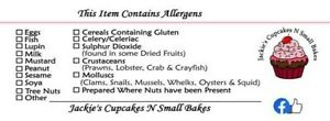 Cupcake Allergen Content Warning Stickers Personalised Cake Food Allergy Labels
