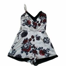 Misguided Women's Size 8 Short Romper Cream Floral Print *