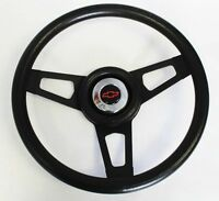 "Black on Black 13 3/4"" Steering Wheel fits Ididit Flaming River Column Black/Red"