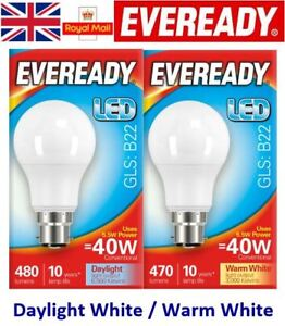 5.5w = 40w LED GLS Bayonet Light Bulb Warm White / Daylight 40 Watt Eveready