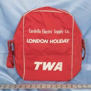 Vintage Twa London Vacances Voyage Bagage à Main Bagage Valise Nuit Sac Dq