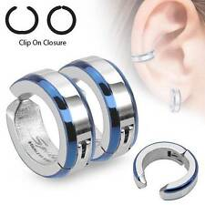 "Surgical Steel Clip on Hoops Cartilage 5/16"" BLUE Fake Earrings Helix Rings"