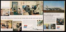 1959 United Aerolíneas Azafata Avión 10 Color Foto Plegable Vintage Estampado Ad