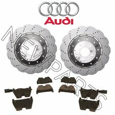 For Audi R8 2014-2015 Set of 2 Drilled Vented Steel Brake Rotors & Pads Genuine